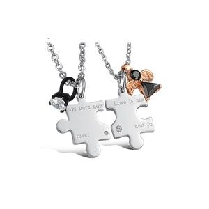 Couples Heart Puzzle Necklaces